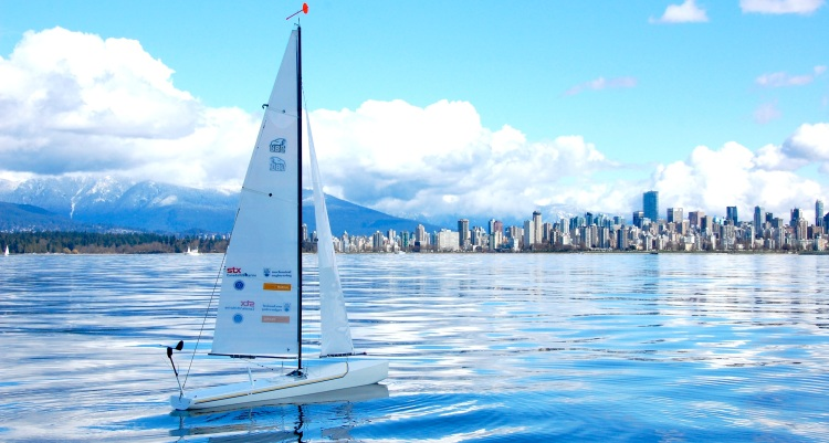 SailBot onwater with Vancouver in background