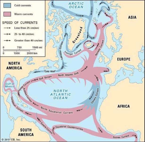 Image: Currents in North Atlantic (Source: Encyclopaedia Britannica, Inc)