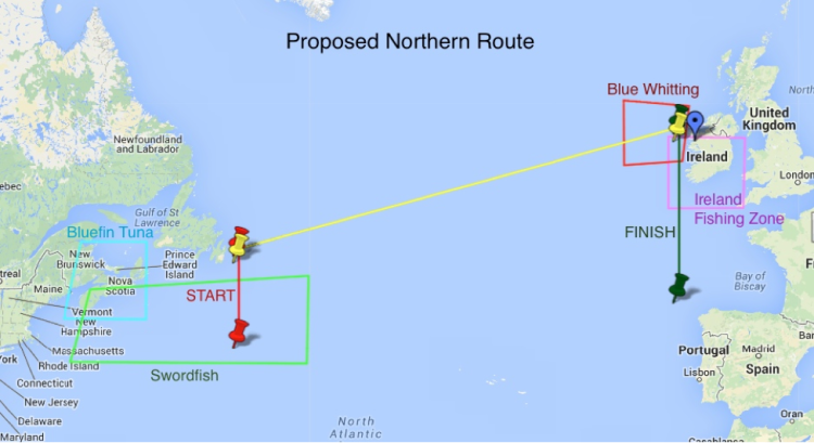 Image: Fishing zones in proposed route (Source: UBC SailBot)