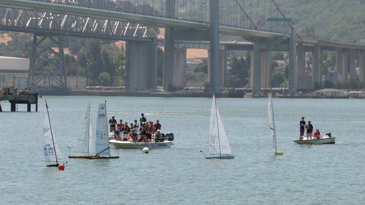 Start of first fleet race! From left to right: Virginia Tech's Orca, US Naval Academy's Sea Quester, Memorial University's Trixie, UBC's Thunderbird 2013, and Aber's Kitty.